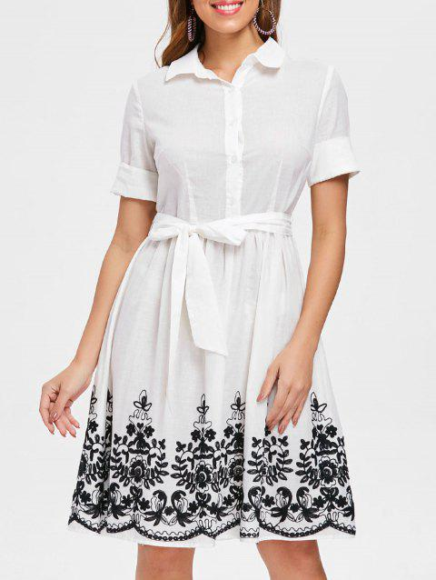 Embroidered Belted Shirt Dress