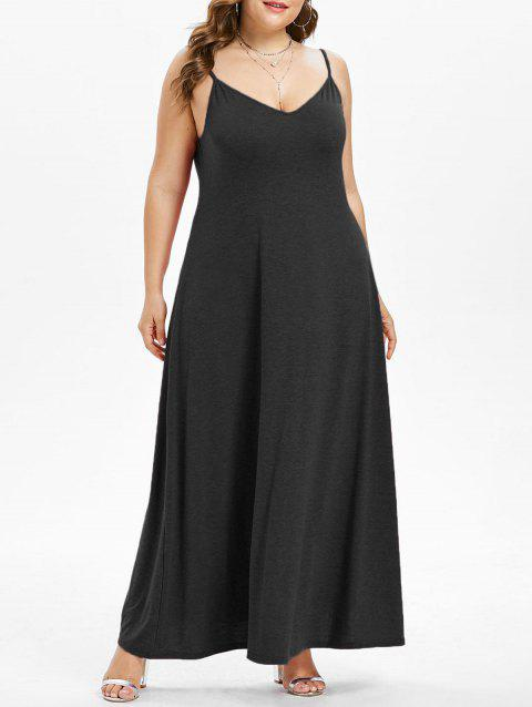 Plus Size Maxi A Line Dress - BLACK 1X