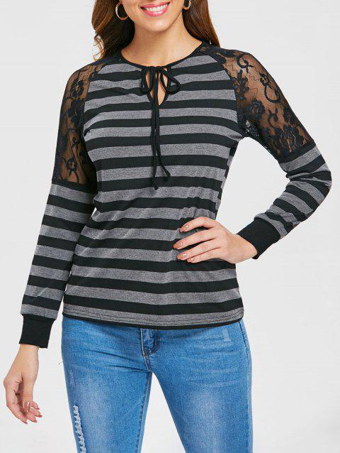 Raglan Sleeve Lace Panel Striped T-shirt - GRAY XL