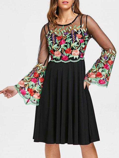 Bell Sleeve Embroidery Mesh Panel Dress - BLACK S