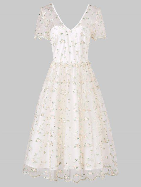Short Sleeve High Waist Embroidered Bridesmaid Dress - WHITE M