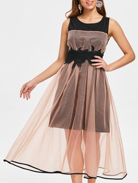 Mesh Overlay Sleeveless Vintage Dress