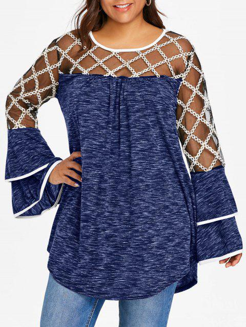 Plus Size Plaid Sheer Yoke Bell Sleeve T-shirt - EARTH BLUE 1X