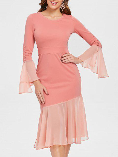 Bell Sleeve Flounced Bodycon Dress - PINK M