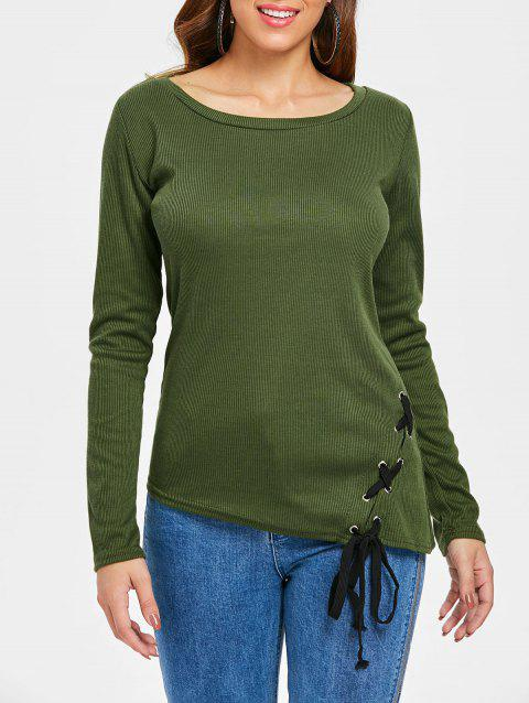 Criss Cross Fitted Top - ARMY GREEN L