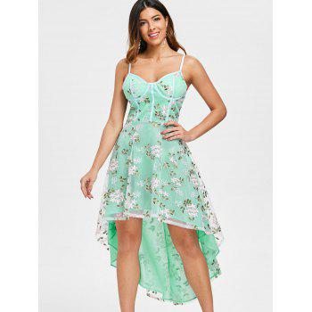 Spaghetti Strap Embroidery High Low Midi Dress - multicolor M