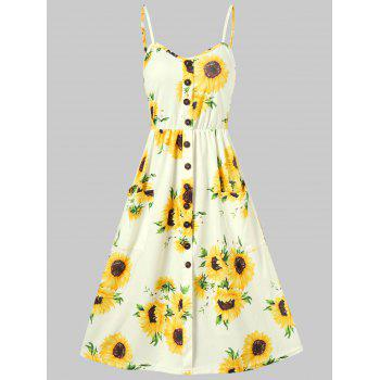 Sunflower Print Button Up A Line Cami Dress