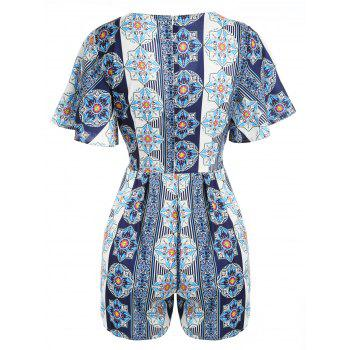 Plunge Ethnic Print Romper with Belt - multicolor XL