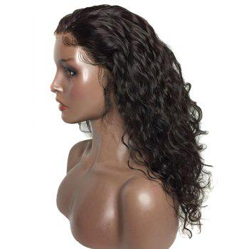 Free Part Long Water Wave Synthetic Fiber Lace Front Wig - BLACK