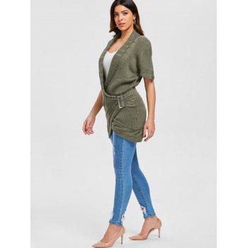 Shawl Collar Cable Knit Surplice Sweater Dress - ARMY GREEN L