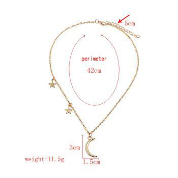 Crescent Moon Stars Chain Necklace - GOLD