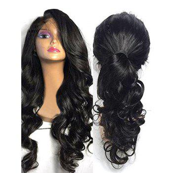 Long Inclined Bang Body Wave Lace Front Synthetic Wig - BLACK