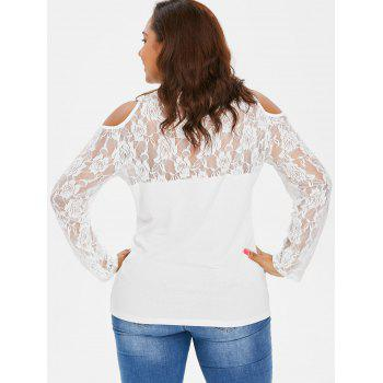 Plus Size Cold Shoulder Lace Yoke T-shirt - WHITE L