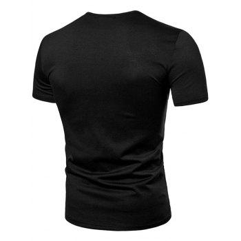 Casual Letter Print Henley T-shirt - BLACK M