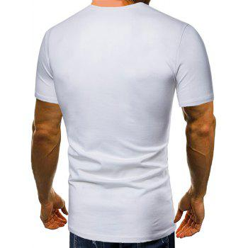 Casual Letter Print Henley T-shirt - WHITE L