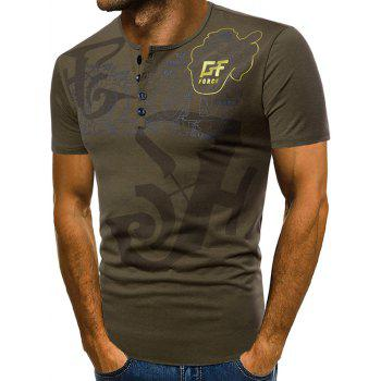 Casual Letter Print Henley T-shirt - ARMY GREEN 2XL