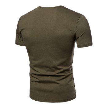 Casual Letter Print Henley T-shirt - ARMY GREEN L