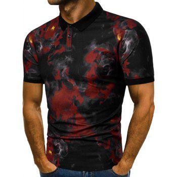 Casual Fire Flames Print Short Sleeve Polo Shirt - RED WINE 2XL