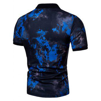 Casual Fire Flames Print Short Sleeve Polo Shirt - BLUE XL