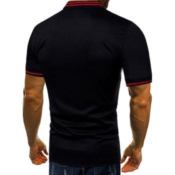 Contrast Color Chest Striped Patch Polo Shirt - BLACK 2XL