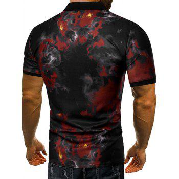 Casual Fire Flames Print Short Sleeve Polo Shirt - RED WINE XL