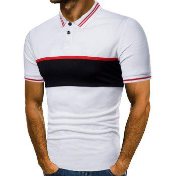 Contrast Color Chest Striped Patch Polo Shirt - WHITE 2XL