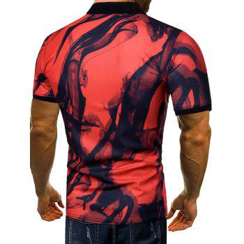 Short Sleeve Allover Smog Print Polo T-shirt - RED WINE 2XL