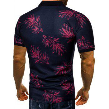 Leaves Print Short Sleeve Breathable Polo Shirt - RED WINE XL