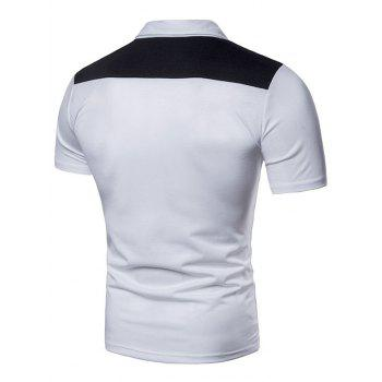 Contrast Top Pocket Patch Polo Shirt - WHITE L
