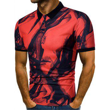 Short Sleeve Allover Smog Print Polo T-shirt - RED WINE L