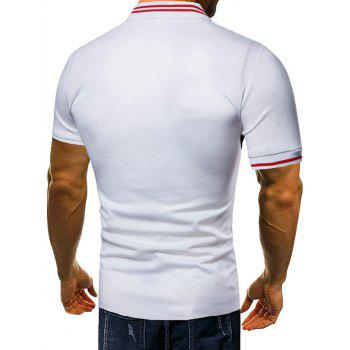Contrast Color Chest Striped Patch Polo Shirt - WHITE XL