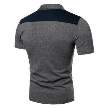 Polo Shirt Patch Poche Contrasté en Haut - Gris XL