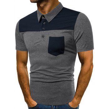 Contrast Top Pocket Patch Polo Shirt - GRAY 2XL
