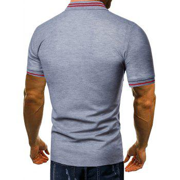 Contrast Color Chest Striped Patch Polo Shirt - GRAY 2XL