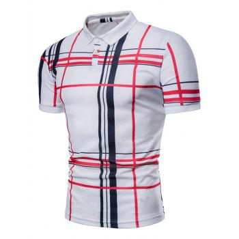 Check Print Short Sleeve Casual Polo Shirt - WHITE L