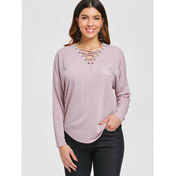 Batwing Sleeve Criss Cross T-shirt - LIGHT PINK M