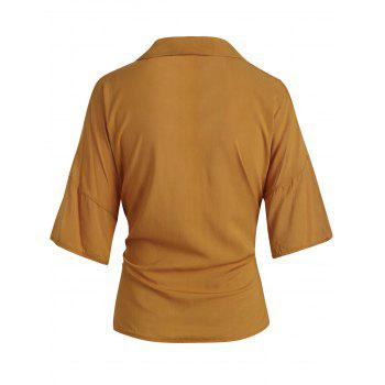 Buttoned Self Tie Shirt - ORANGE GOLD S