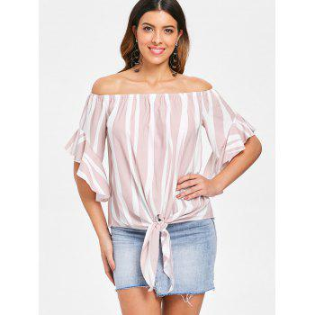 Off Shoulder Striped Front Tie Top - LIGHT PINK M
