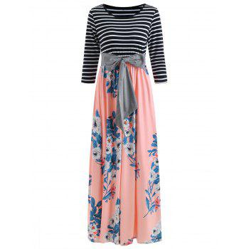 Floral Print Striped Panel Maxi Dress with Belt - LIGHT PINK S