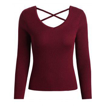 V Neck Criss Cross Sweater - RED M