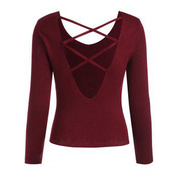 V Neck Criss Cross Sweater - RED XL