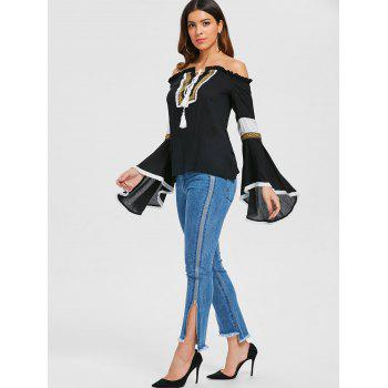 Off The Shoulder Bell Sleeve Embroidered Blouse - BLACK 2XL