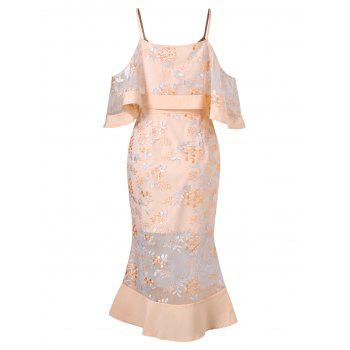 Flounce Trim Shoulder Cut Lace Fishtail Dress - DEEP PEACH L