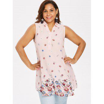 Plus Size Buttoned Floral Tank Top - LIGHT PINK XL