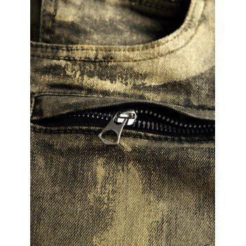 Zip Fly Paint Biker Jeans - GOLD 36