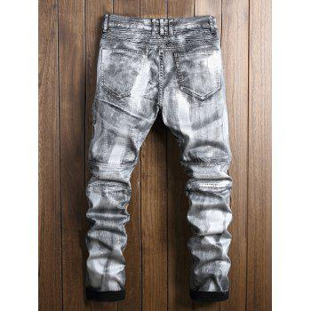 Zip Fly Paint Biker Jeans - SILVER 36