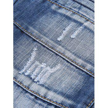 Zip Embellished Faded Taper Fit Jeans - DENIM DARK BLUE 34