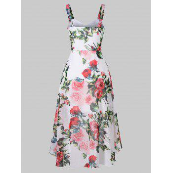 Flower Print Sleeveless Asymmetrical Chiffon Dress - WHITE 2XL