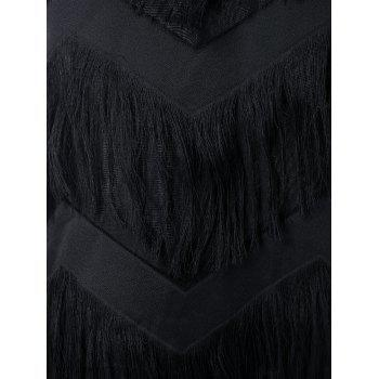 Spaghetti Strap Fringed Flapper Dress - BLACK XL