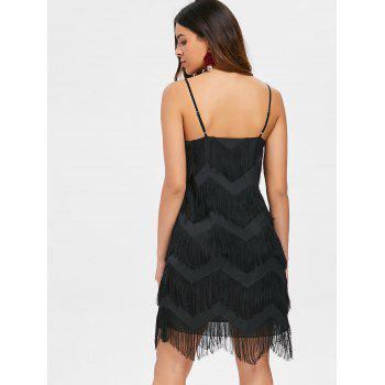 Spaghetti Strap Fringed Flapper Dress - BLACK L